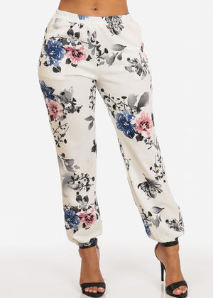 White Floral High Rise Jogger Pants