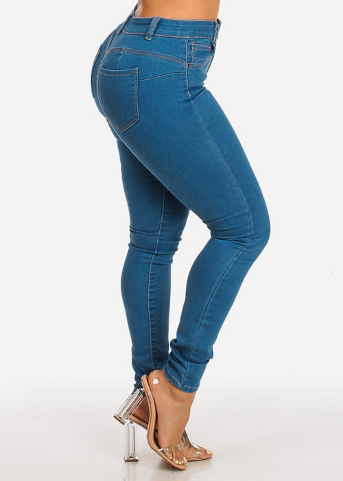 Med Wash High Rise Butt Lifting Skinny Jeans