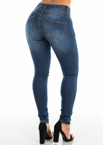 Image of Torn Butt Lifting Dark Wash Skinny Jeans