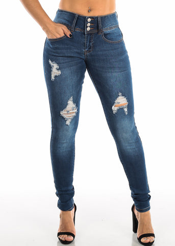 Torn Butt Lifting Dark Wash Skinny Jeans