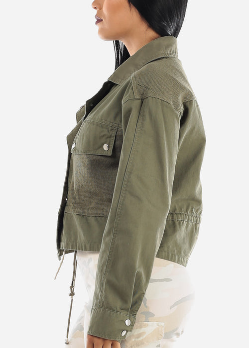 Snap Closure Olive Denim Jacket
