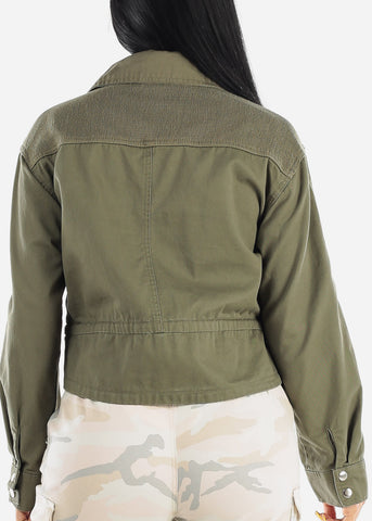 Image of Snap Closure Olive Denim Jacket