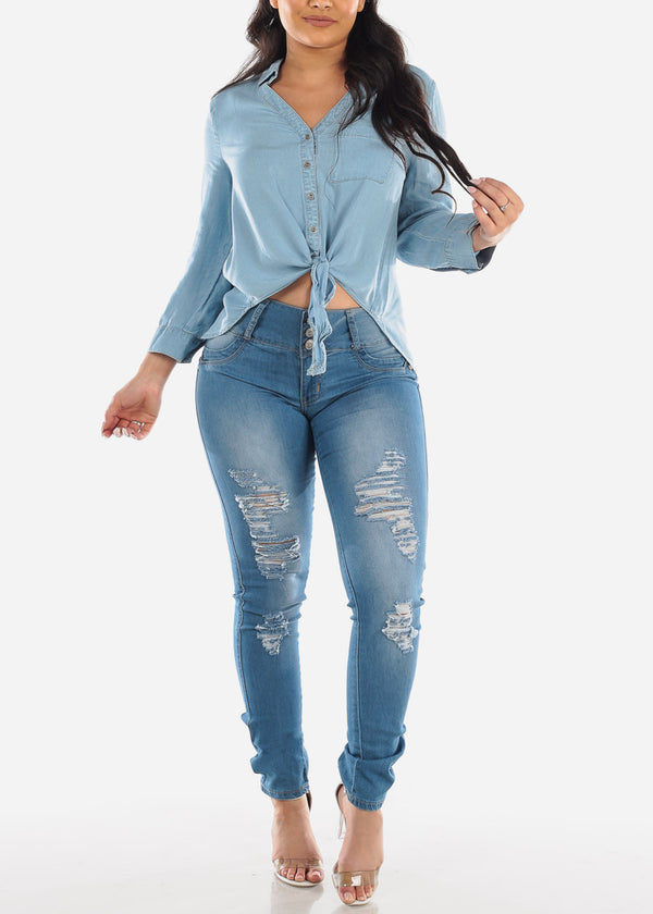 Ripped Med Wash Butt Lifting Skinny Jeans