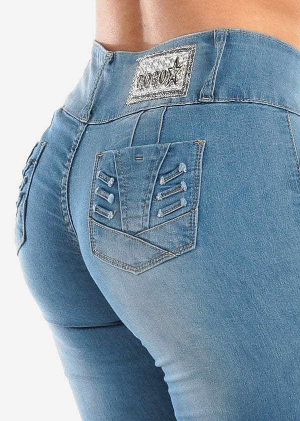 Sexy Butt Lifting Levanta Cola Med Wash Low Rise Distressed Skinny Jeans For Women Ladies Junior