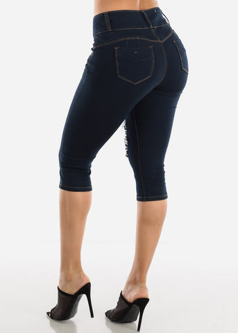 Levanta Cola Torn Dark Denim Capris