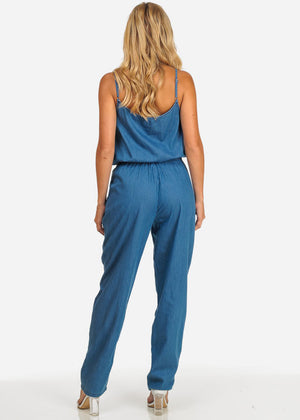 Blue Denim Button Up Jumpsuit