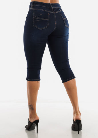 Image of Mid Rise Dark Blue Ripped Capris