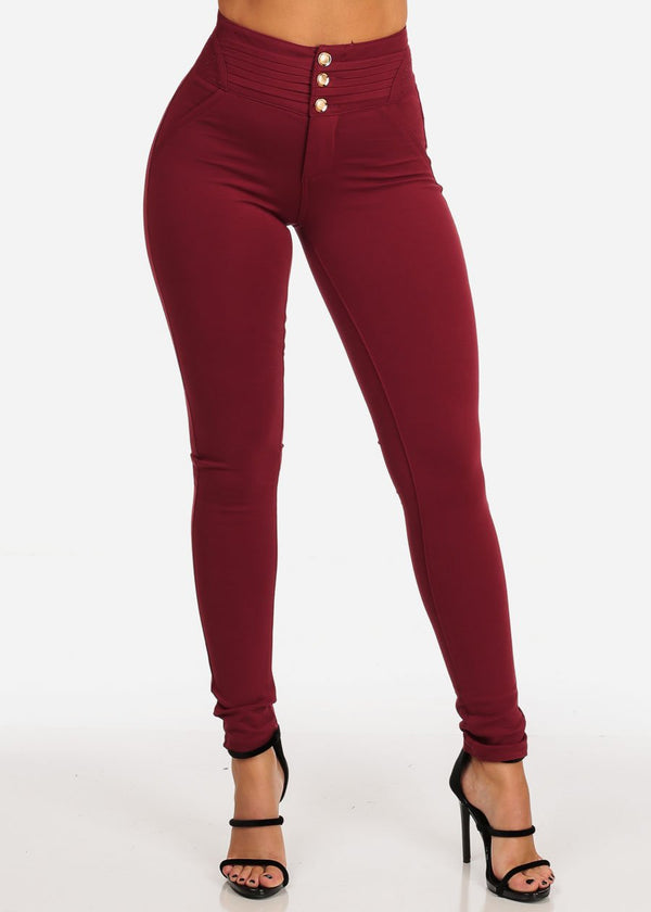 Stylish Fashionable High Rise 3 Gold Button Butt Lifting Levanta Cola Burgundy Skinny Pants