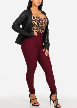 Classic High Waisted Burgundy Skinny Jeans