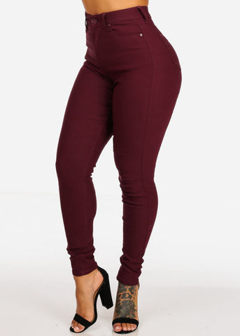 Image of Classic High Waisted Burgundy Skinny Jeans