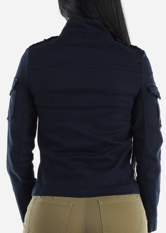 Image of Long Sleeve Outwear Navy Jacket