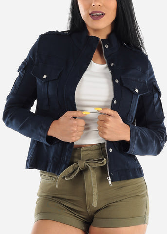 Long Sleeve Outwear Navy Jacket