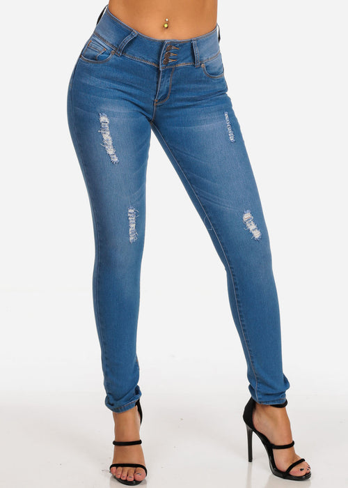 Butt Lifting 3 Button Light Wash Distressed Levanta Cola Skinny Jeans