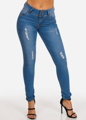 Image of Butt Lifting 3 Button Light Wash Distressed Levanta Cola Skinny Jeans