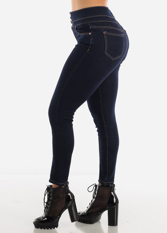Dark High Rise Ankle Jeans