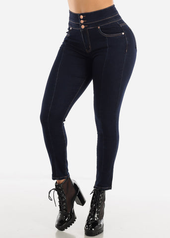 Image of Dark High Rise Ankle Jeans