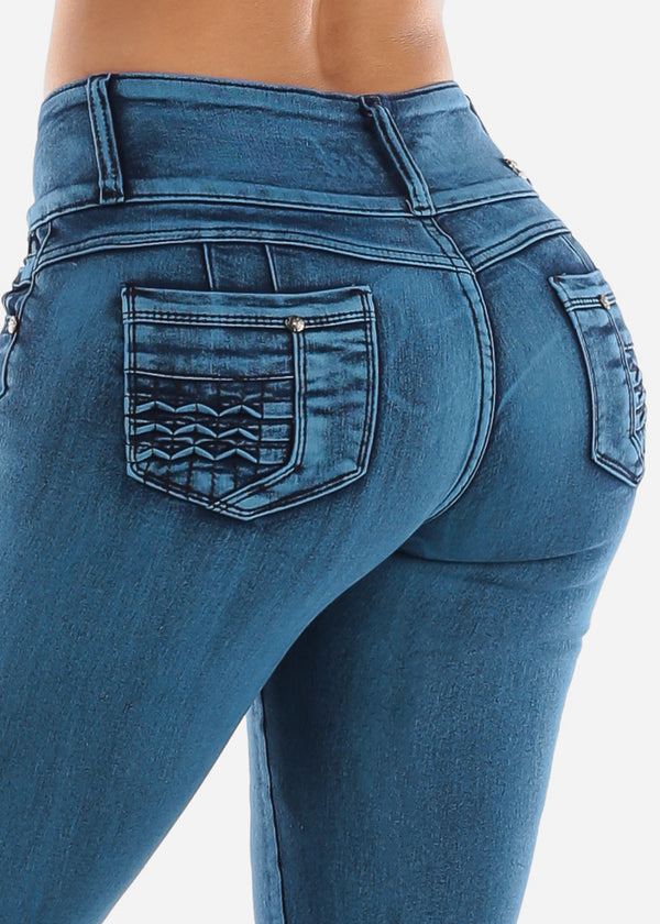 High Rise Butt Lifting Blue Wash Skinny Jeans