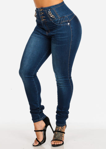 Dark Butt Lifting High Rise Skinny Jeans