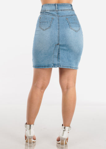 Image of 2 Button Push Up High Waisted Butt Lifting Levanta Cola Light Wash Denim Skirt For Women Ladies Junior