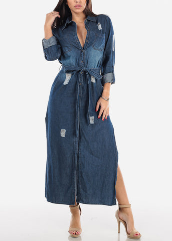 Distressed Denim Maxi Dress