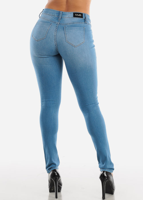 Light Wash Mid Rise Ripped Denim Jeans