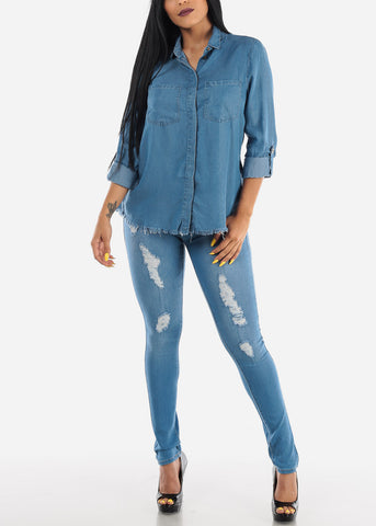 Image of Light Wash Mid Rise Ripped Denim Jeans