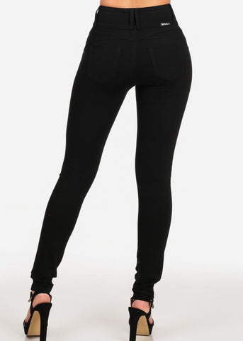 Women's Junior Casual Going Out Mid Waist Levanta Cola Colombian Style Solid Black Skinny Leg Pants