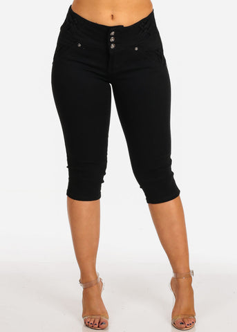 Women's Junior Ladies Stylish Sexy Casual Must Have Levanta Cola Colombian Design Black Denim Capris