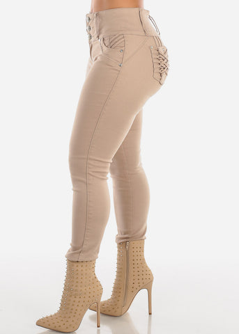 Braided Pocket Butt Lifting Khaki Skinny Jeans
