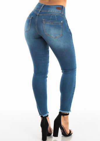 Image of Ripped Med Wash Skinny Ankle Jeans