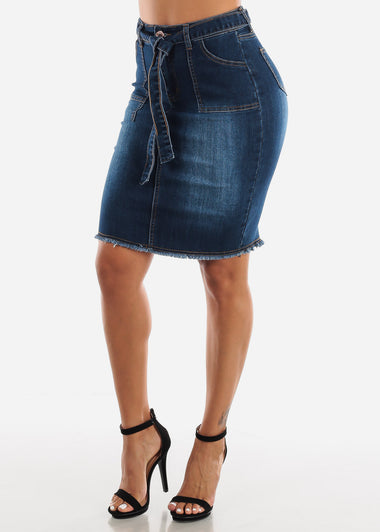 Dark Wash Belted Denim Skirt