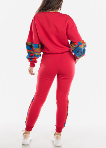 Image of Fuzzy Red Sweater & Pants (2 PCE SET)