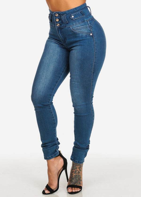 Med Wash High Waist Butt Lifting Skinny Jeans