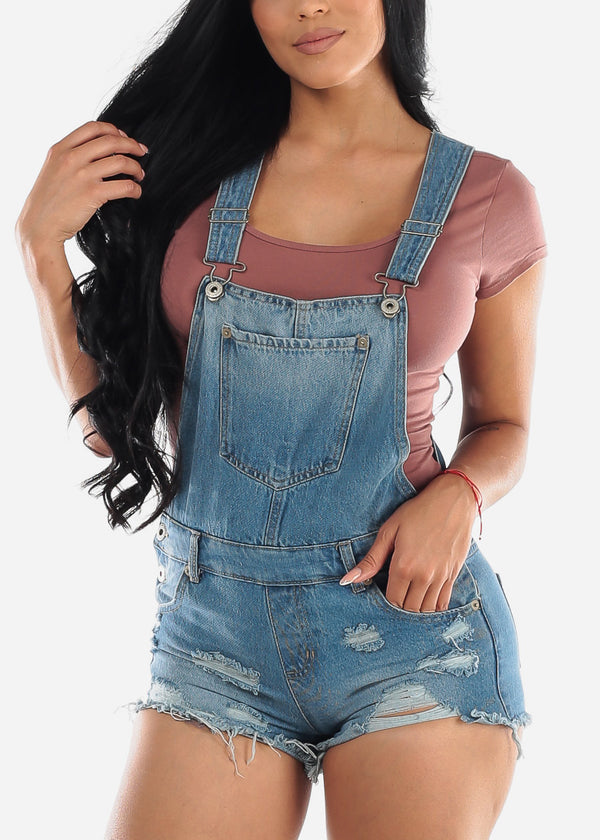 Light Wash Distressed Denim Short Overall