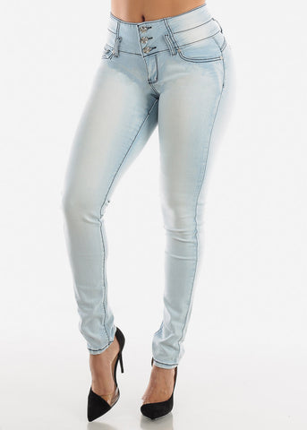 Mid Rise Light Wash Butt Lifting Skinny Jeans