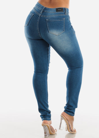 Image of Distressed Med wash Skinny Jeans