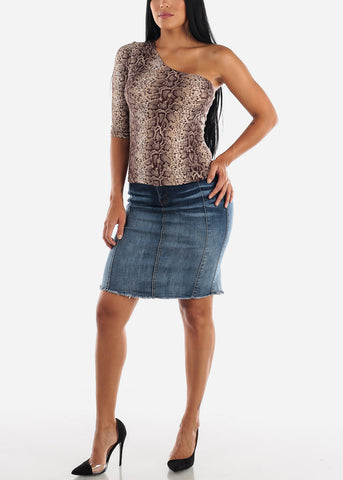 Image of 1 Button Raw Hem Denim Pencil Skirt