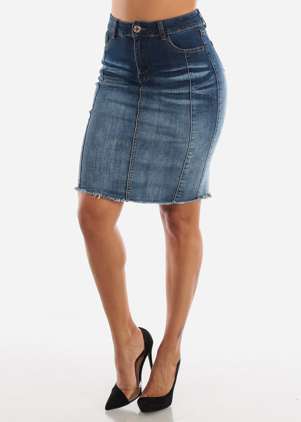 1 Button Raw Hem Denim Pencil Skirt