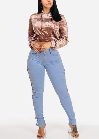 Levanta Cola High Rise Light Wash Lace Up Detail Skinny Jeans