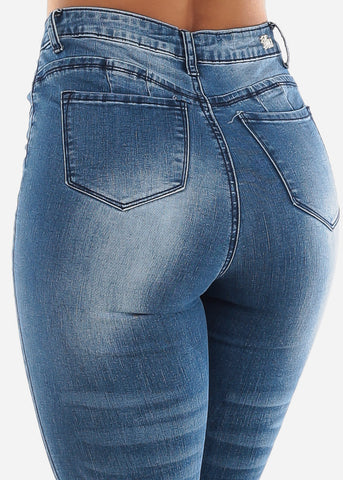 Med Blue Butt Lifting Ripped Jeans