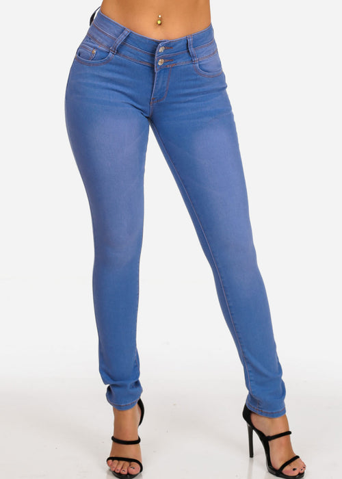 Butt Lifting Levanta Cola Mid Rise 2 Button Light Blue Wash Denim Skinny Jeans With Back Pocket Rips