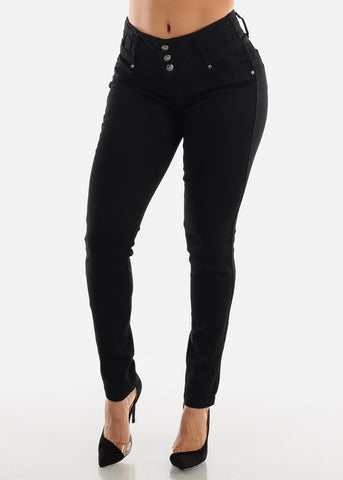 Black Butt Lift Jeans with Rhinestone Pockets