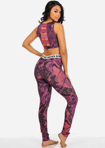 Grey and Pink Women's Gym 3 Piece Sport Set