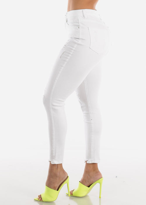 High Rise Distressed White Skinny Jeans