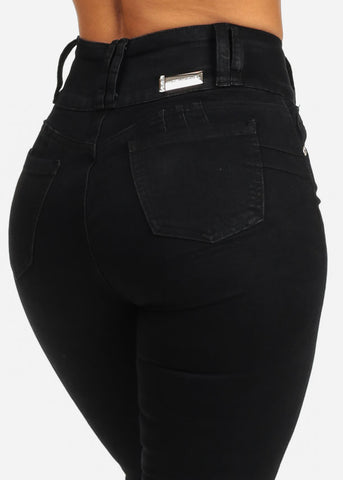 Ultra High Rise Butt Lifting Cut Out Black Skinny Jeans