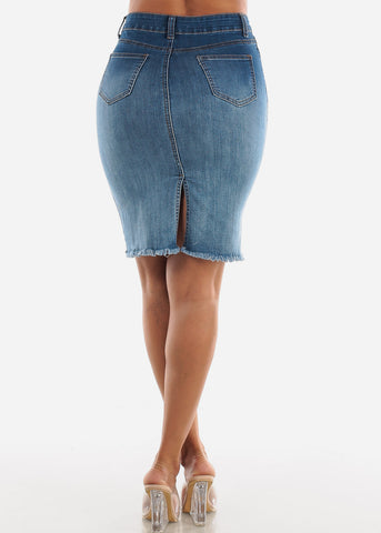 Image of 1 Button Raw Hem Med Denim Pencil Skirt