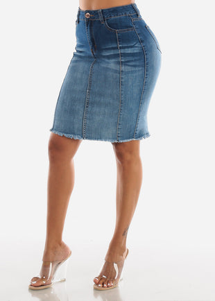 1 Button Raw Hem Med Denim Pencil Skirt