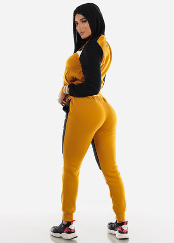 Image of Mustard Colorblock Hoodie & Jogger Sweatpants (2 PCE SET)