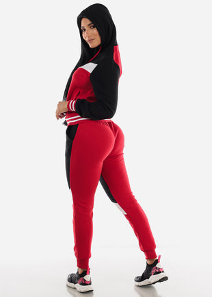 Red Colorblock Hoodie & Jogger Sweatpants (2 PCE SET)
