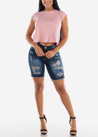Image of Dark Wash Double Sided Torn Denim Bermuda Shorts